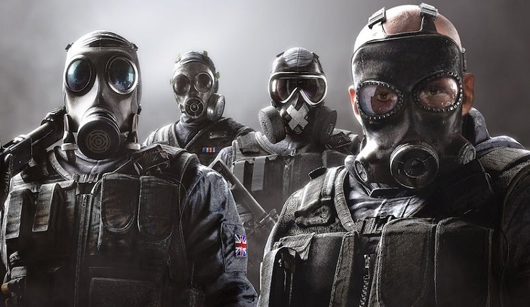 Men wearing gas masks