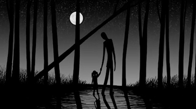 A silhouette of a man with a child